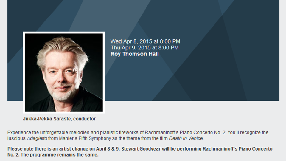A screenshot from the Toronto Symphony Orchestra's website.