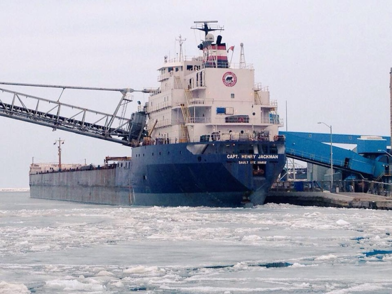 The Great Lakes shipping vessel Captain Henry Jackman is seen a day after its arrival at the port in Goderich, Ont. on Tuesday, April 7, 2015. (Scott Miller / CTV London)