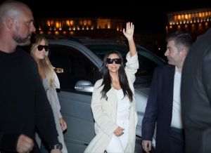 Kim Kardashian waves on her way to a hotel in downtown Yerevan, Armenia, Wednesday, April 8, 2015. (AP Photo/Hrant Khachatryan, PAN Photo)