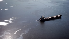 Oil spill in Burrard Inlet in Vancouver