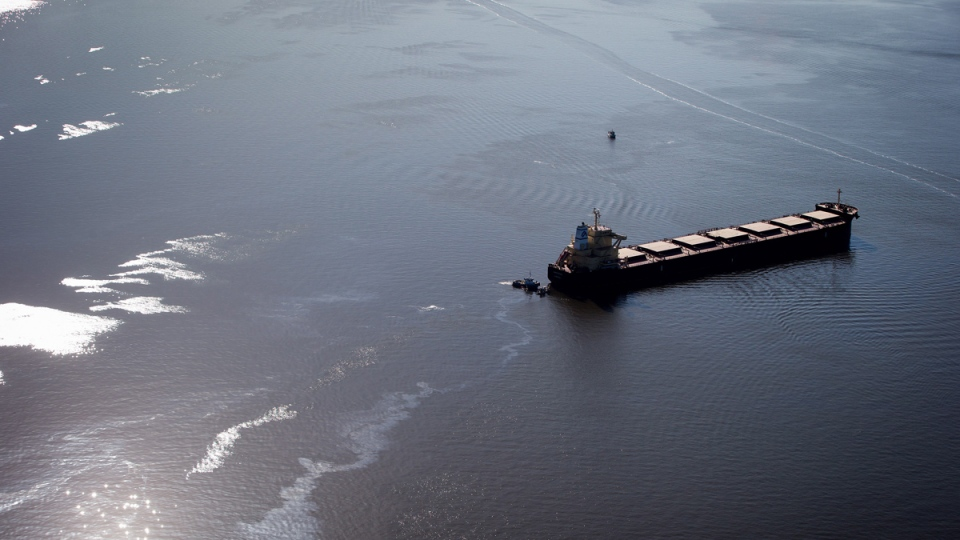 Bunker fuel leaks from the bulk carrier cargo ship Marathassa anchored on Burrard Inlet in Vancouver, on Thursday, April 9, 2015. (Darryl Dyck / THE CANADIAN PRESS)