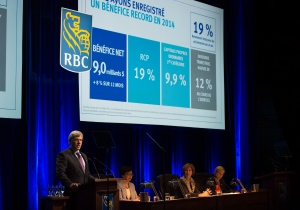 RBC President and CEO David McKay speaks at the company's annual general meeting in Toronto on Friday, April 10, 2015. (Frank Gunn / THE CANADIAN PRESS)