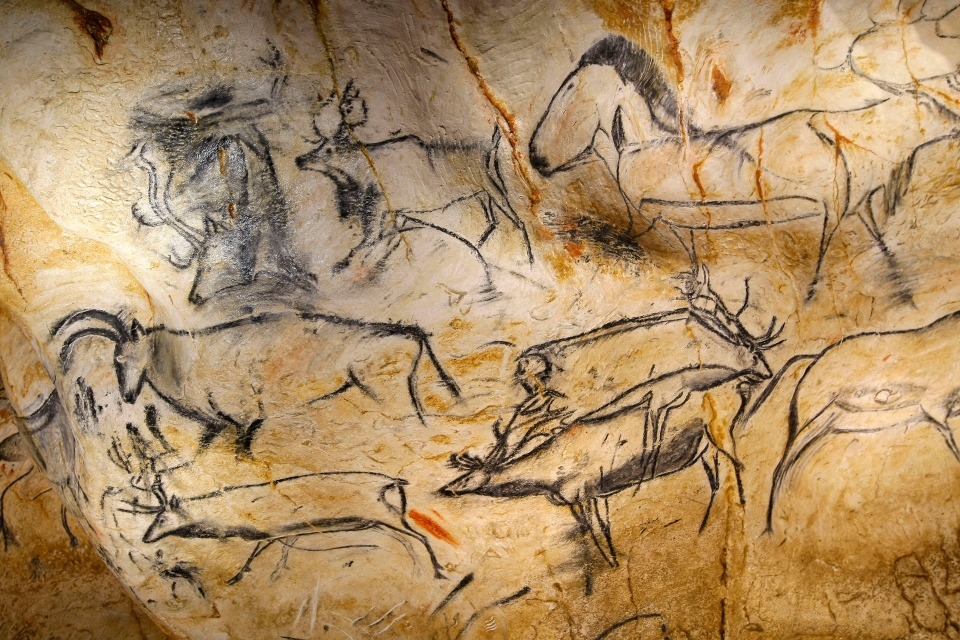 Drawings of animal figures from the life size replica of Grotte Chauvet, or Chauvet cave, in Vallon Pont d'Arc, near Bollene, southern France, March 6, 2015. (AP / Claude Paris)
