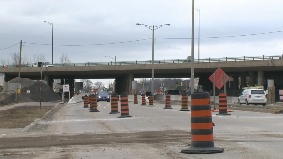 Preparations for construction work on Homer Watson Boulevard under Highway 7/8 are pictured on Friday, April 10, 2015.