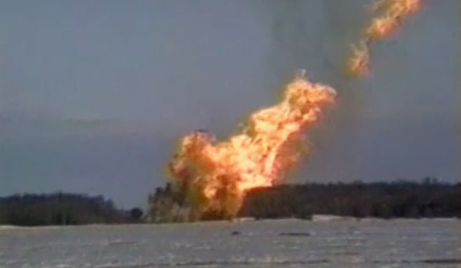 A natural gas rupture on a TransCanada pipeline 10 kilometres southwest of Winnipeg, near the town of St. Norbert, Manitoba on 15 April, 1996.