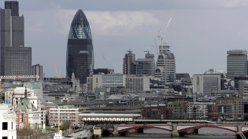 A view from Nelson's Column shows the Gherkin building over central London's skyline is pictured on Monday April 10, 2006. (Kirsty Wigglesworth, file/AP)
