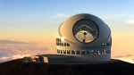 This undated file artist rendering made available by the TMT Observatory Corporation shows the proposed Thirty Meter Telescope, planned to be built atop Mauna Kea, a large dormant volcano in Hilo on the Big Island of Hawaii in Hawaii. (TMT Observatory Corporation / AP Photo)