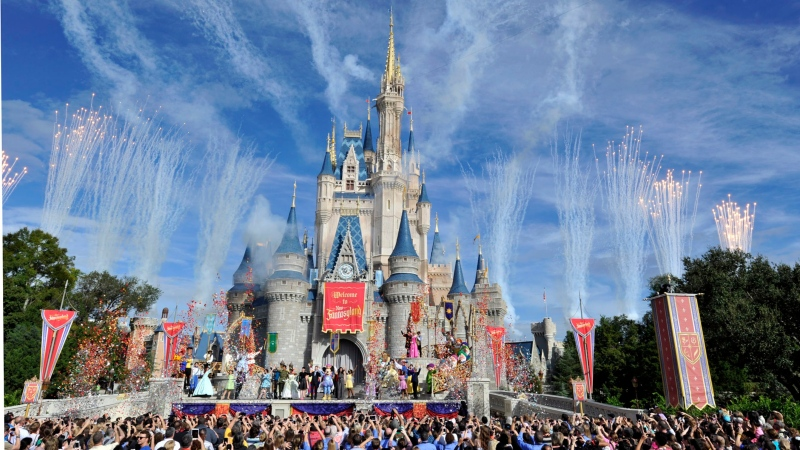 This image released by Disney shows fireworks punctuating the sky at the grand opening celebration at the Cinderella Castle for the New Fantasyland attraction at the Walt Disney World Resort's Magic Kingdom theme park in Lake Buena Vista, Fla. on Dec. 6, 2012. (AP/ Gene Duncan)