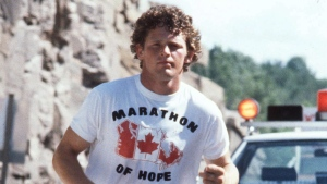 In this undated photo, Terry Fox is pictured during his run across Canada to raise money for cancer research. (The Canadian Press)