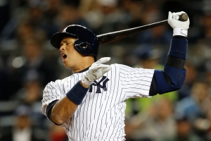 New York Yankees designated hitter Alex Rodriguez reacts as he strikes out swinging in the fourth inning of a baseball game against the Boston Red Sox in New York, Sunday, April 12, 2015. (AP / Kathy Willens)