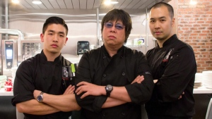 Eric Chong, the first-ever winner from MasterChef Canada, Alvin Leung, three-star Michelin chef and executive chef Nelson Tsai of R & D Restaurant appear in this photo. (Photo courtesy Alvin Leung)