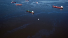 Bunker fuel drifts on the surface of Burrard Inlet