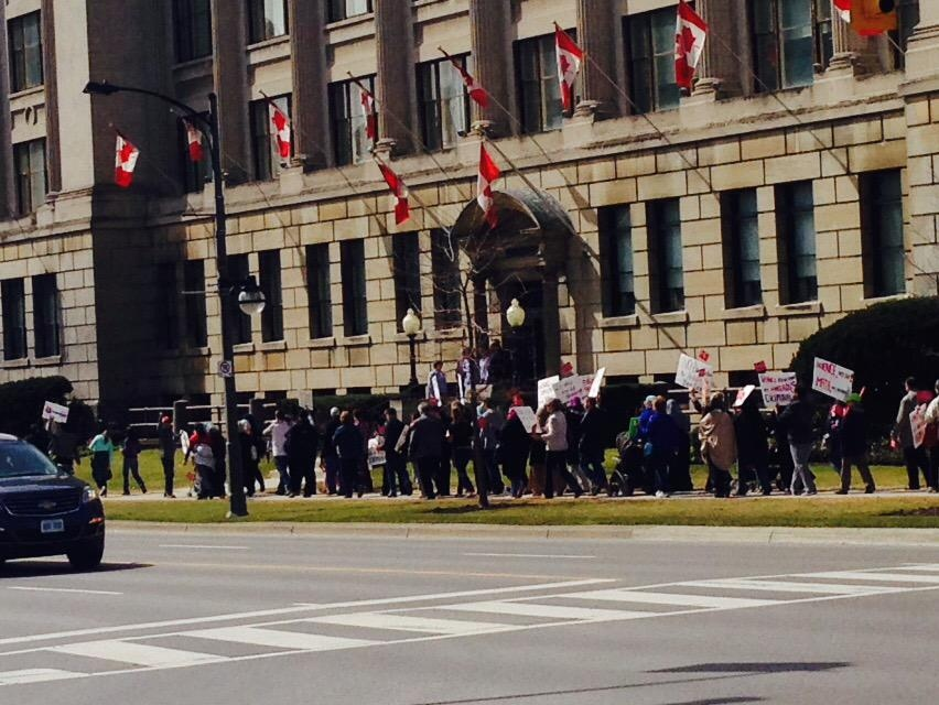Opponents of Ontario's new sex ed curriculum march in London, Ont. on Tuesday, April 14, 2015. (Gerry Dewan / CTV London)