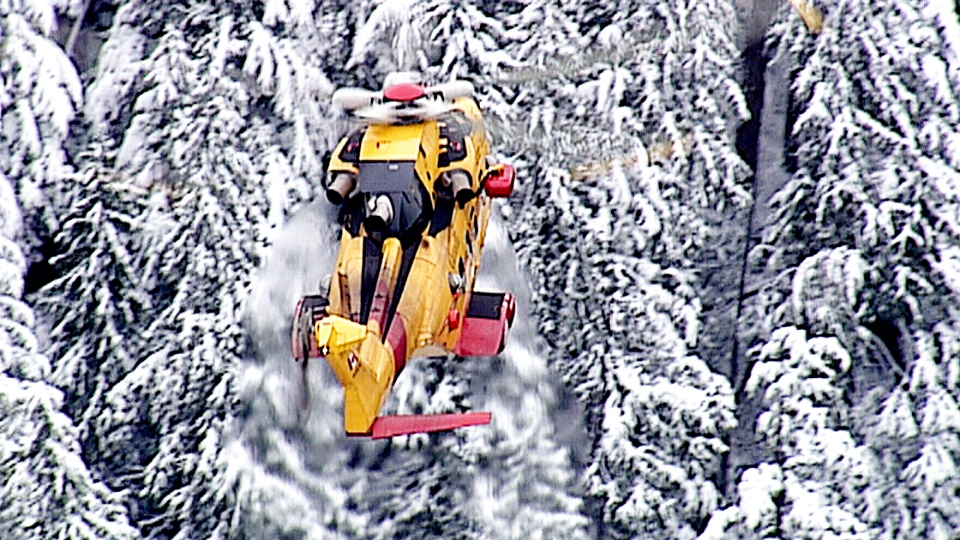 A Cormorant helicopter conducts a search for two pilots missing in a cargo plane crash north of Vancouver.