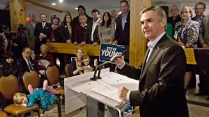 Alberta Conservative Leader Jim Prentice speaks during a campaign stop in Edmonton on Tuesday April 14, 2015. THE CANADIAN PRESS/Jason Franson