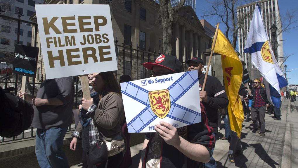 Protest against film credit cuts in Nova Scotia
