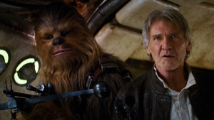 Harrison Ford is shown as Han Solo alongside his sidekick, Chewbacca (Peter Mayhew) in this image from the second trailer for 'Star Wars: The Force Awakens.' (Star Wars / YouTube)