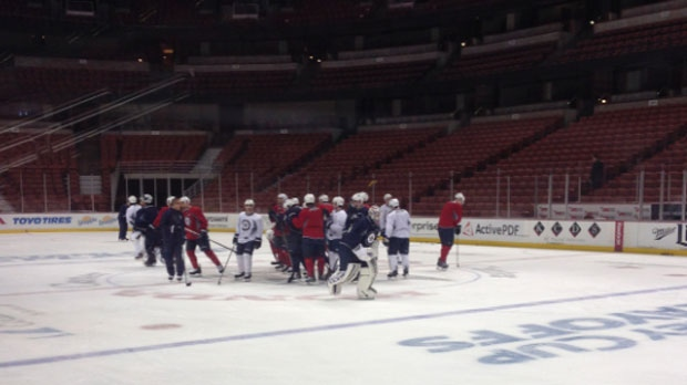 The Winnipeg Jets prepare on April 16, 2015 for their first playoff game against the Ducks in Anaheim.