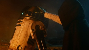 Luke Skywalker is shown putting his metal hand on R2-D2 in this image from the second trailer for 'Star Wars: The Force Awakens.' (Star Wars / YouTube)
