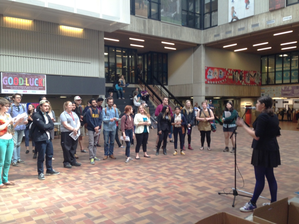 Students demonstrate prior to a University of Guelph board of governors meeting on Thursday, April 16, 2015. (David Imrie / CTV Kitchener)