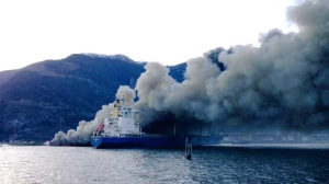 Firefighters are responding to a massive blaze on the dock in Squamish, B.C. April 16, 2015. (Twitter)