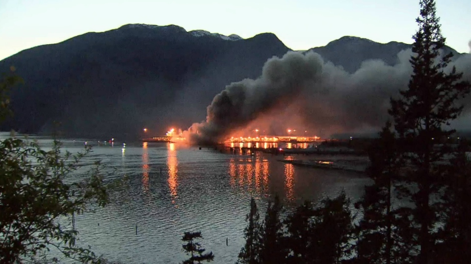 The blaze at Squamish Terminals broke out at about 6:15 p.m. (CTV Vancouver)