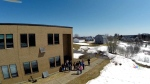 A drone-mounted camera offers a birds-eye view of students at Caledonia Regional High School in Hillsborough, N.B. on Apr. 16, 2015.