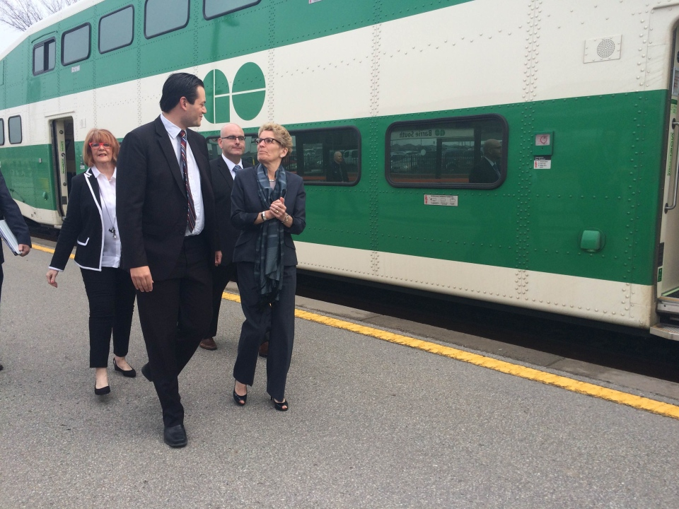 Barrie Mayor Jeff Lehman welcomes Ontario Premier Kathleen Wynne at the Barrie South Go Station on Friday, April 17, 2015. (Shannon Bradbury / CTV Barrie)