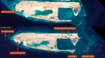 These satellite images were taken on Feb. 6, 2015, top, and March 23, 2015, bottom, by Airbus Defence and Space, and distributed by IHS Jane's Defence Weekly. They show what IHS Jane's describes as an airstrip on Fiery Cross Reef in the South China Sea.