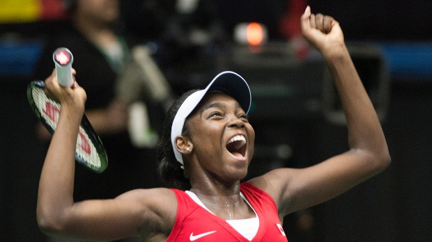 Canada's Francoise Abanda celebrates after defeati