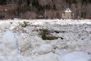 The St. John River where it runs through the village of Perth-Andover, N.B. is shown jammed full of ice on Sunday, April 19, 2015. (Stephen MacGillivray / THE CANADIAN PRESS)