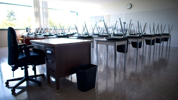 Empty teachers desk at the front of an empty classroom. (THE CANADIAN PRESS / Jonathan Hayward)