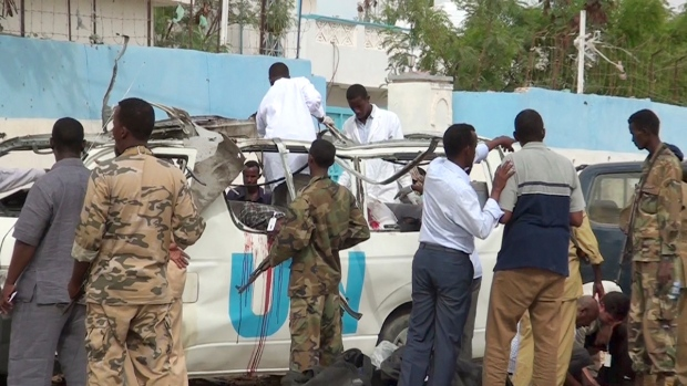 After the attack on a UN bus in Garowe, Somalia
