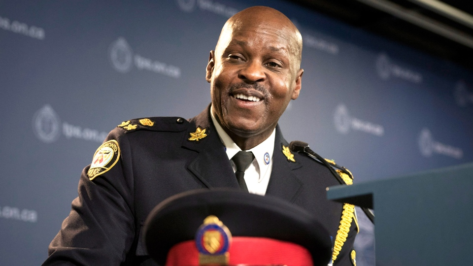 Mark Saunders, the Toronto Police chief designate, speaks to reporters while being introduced at a press conference in Toronto on Monday, April 20, 2015. (Darren Calabrese / THE CANADIAN PRESS)