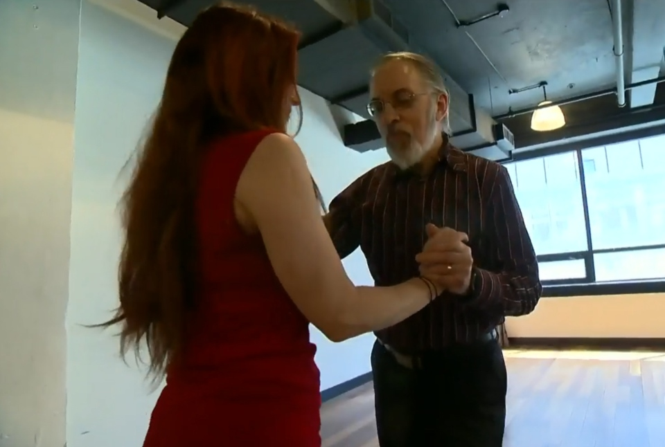 Wilfred Buchanan participates in a research study on the effects of tango dancing on Parkinson's symptoms.