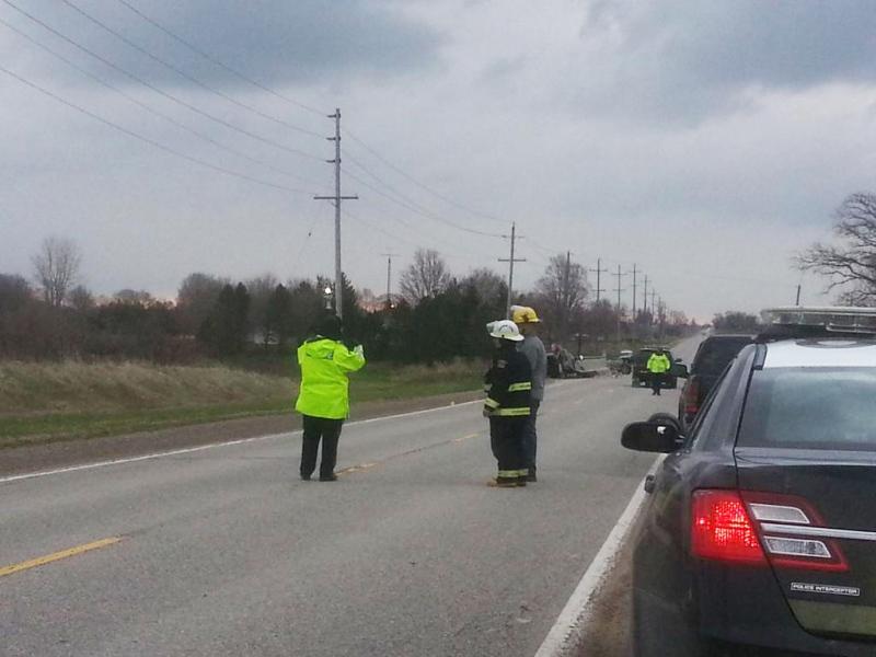 Police investigate a fatal crash near Huron Park, Ont., on Tuesday, April 21, 2015. (Justin Zadorsky/CTV London)