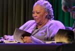 Author Toni Morrison signs copies of her latest book 'Home,' during Google's online program series, Authors At Google, in New York on Feb. 27, 2013. (AP / Bebeto Matthews)