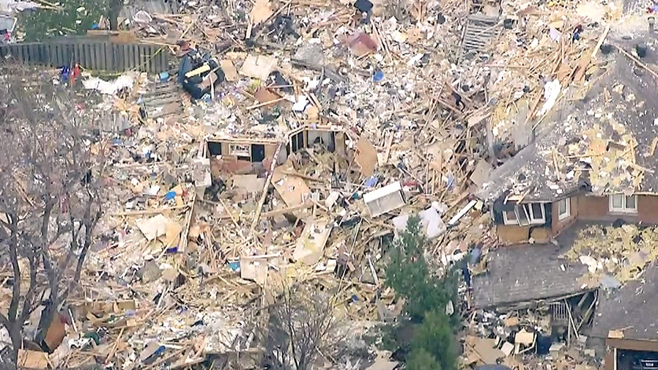 An aerial view of the aftermath of a house explosion in Scarborough, Ont. on Tuesday, April 21, 2015.