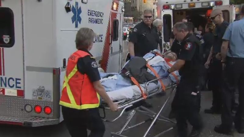 A man is taken away from the Vancouver 4/20 celebrations by ambulance. April 20, 2015. (CTV)