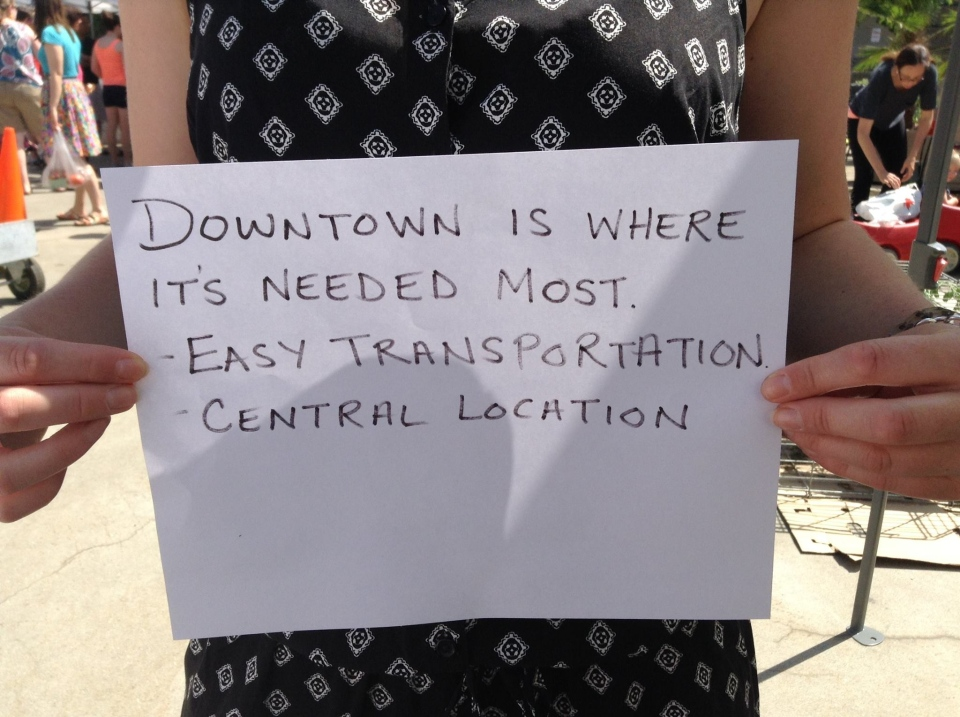Some Windsor residents have posted pictures on Facebook urging for the hospital to be located downtown.(Facebook)