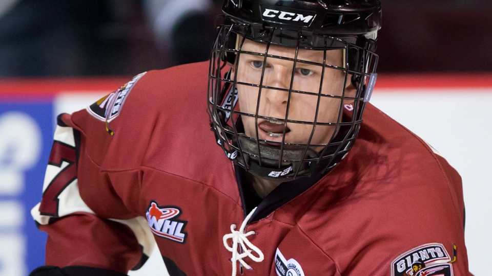 Tyler Benson, seen here with the WHL's Vancouver Giants, is looking to crack the Oilers lineup in his second season as a pro.