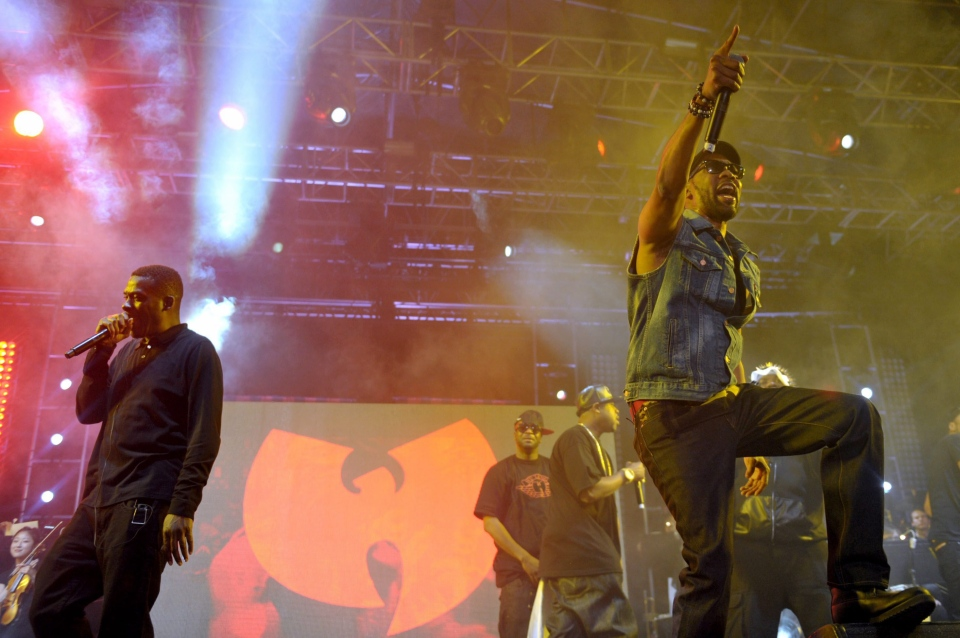 Gary Grice, aka Gza, left, and Robert Fitzgerald Diggs, aka Rza, of Wu-Tang Clan perform at the second weekend of the 2013 Coachella Valley Music and Arts Festival at the Empire Polo Club on Sunday, April 21, 2013 in Indio, Calif. . (Photo by John Shearer/Invision/AP)