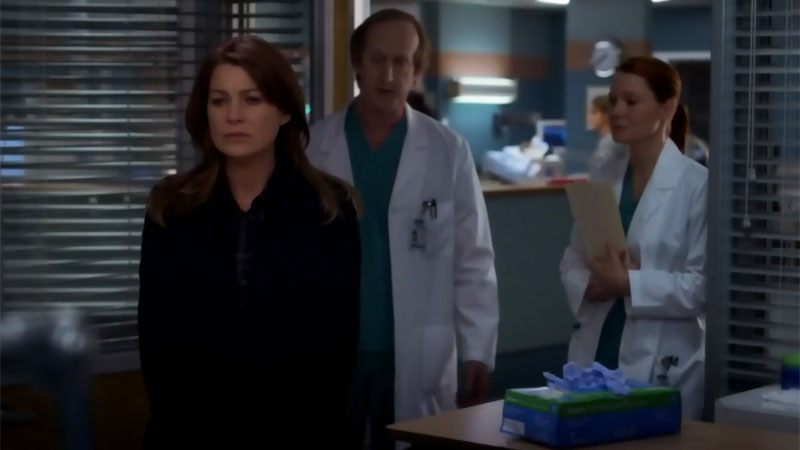 Grey's Anatomy lead character Meredith Grey is seen in this image from the show.