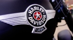 The Harley-Davidson logo is displayed on a new motorcycle for sale in the show room of Hall's Harley-Davidson Cycles, in Springfield, Ill., Jan. 20, 2012. (AP / Seth Perlman)