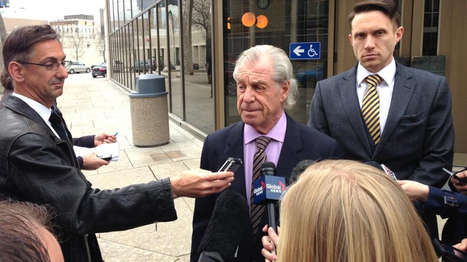 Andrea Giesbrecht's lawyer, Greg Brodsky, addresses media following a bail hearing, in Winnipeg, Friday, April 24, 2015. (John Schneider / CTV News)
