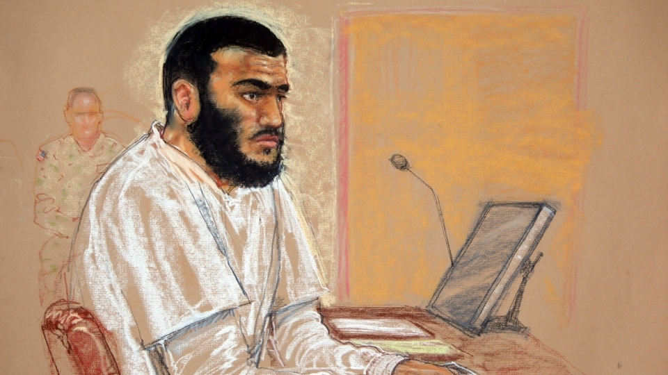 Canadian defendant Omar Khadr sits during a hearing at the U.S. Military Commissions court for war crimes, at the U.S. Naval Base, in Guantanamo Bay, Cuba, Jan. 19, 2009. (Janet Hamlin / THE CANADIAN PRESS)