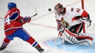 Ottawa Senators goalie Craig Anderson (41) stops Montreal Canadiens centre Tomas Plekanec (14) during second period of Game 5 NHL first round playoff hockey action Friday, April 24, 2015 in Montreal.THE CANADIAN PRESS/Ryan Remiorz
