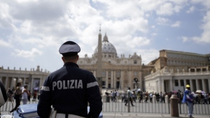 A police officer patrols outside St. Peter's Square, in Rome Friday, April 24, 2015. (AP / Gregorio Borgia)