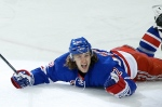 New York Rangers winger Carl Hagelin (62) reacts after scoring the winning goal in overtime of Game 5 against the Pittsburgh Penguins in the first round of the NHL hockey Stanley Cup playoffs, Friday, April 24, 2015, in New York. (AP / Julie Jacobson)