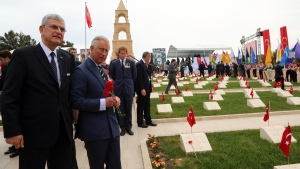 Prince Charles at the 57th Turkish Regiment cemetery and memorial site at the Gallipoli peninsula, Turkey, on April 25, 2015. (AP / Burhan Ozbilici)